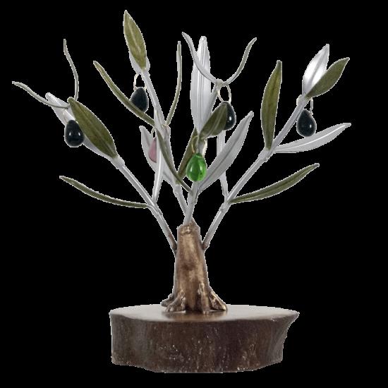 Olivo Artesanal de cristal, madera y metal. 1 pie.