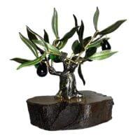 Olivo artesanal de metal y madera para decoración y regalo