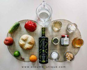 Ingredientes para la Sopa Fría de albaricoque y melocotón con queso de cabra y aove, receta de Manuela Monsalve