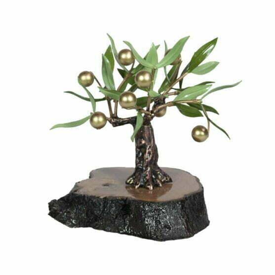 Olivo con aceitunas doradas para regalo