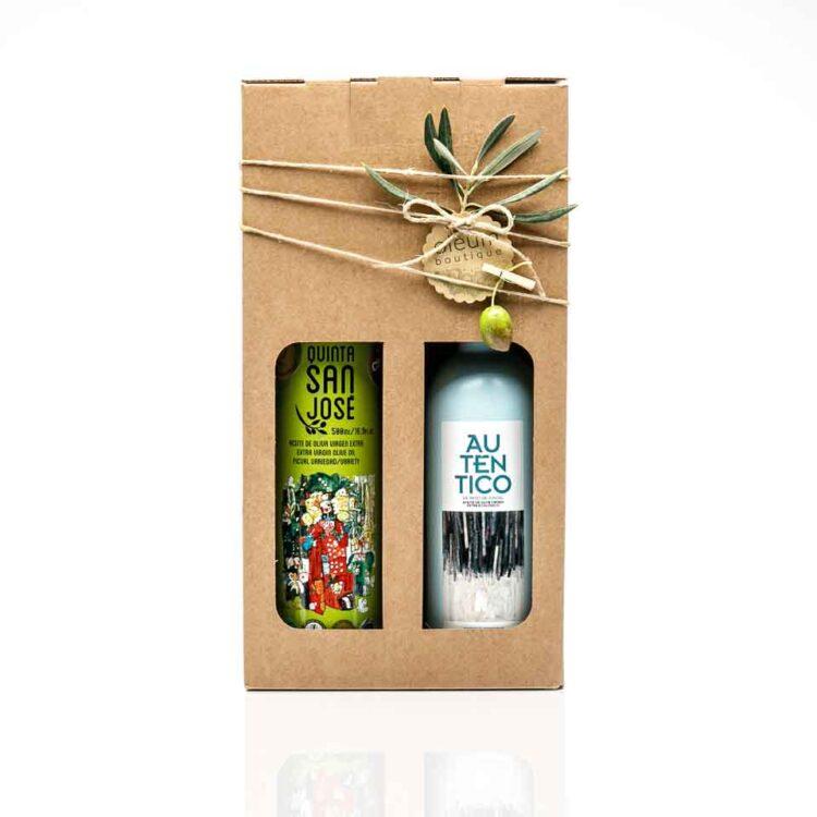Regalo original con aceite de oliva virgen extra gourmet en estuche ecológico