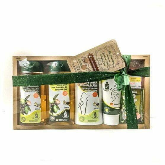 Cesta de cosméticos surtidos con aceite de oliva Cosméticaolivo