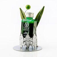 Expositor Aove Verde Esmeralda greca con hojas de olivo y aceituna