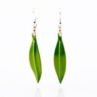 Pendientes de hoja de olivo verde claro