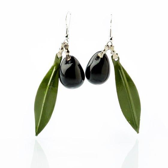 Pendientes de hoja de olivo y aceituna negra