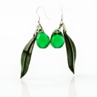 Pendientes hoja de olivo y aceituna verde